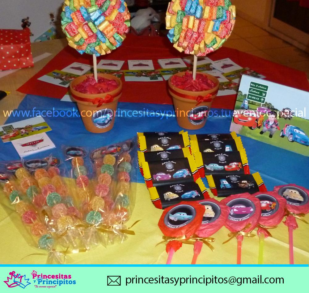 Cumplea os 3 a itos cars golosinas personalizadas y souvenirs princesitas y principitos Mesa de cumpleanos infantil