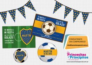 Tarjetas de invitación para cumpleaños de Boca Juniors